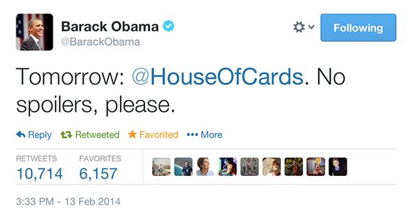 House od Cards: L'ÉNORME coup de pub de Barack Obama!